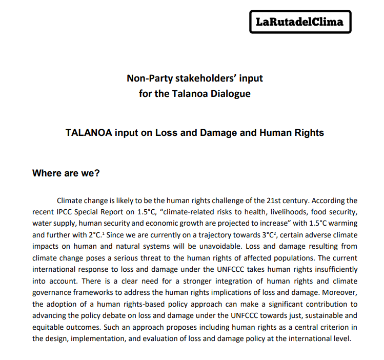 TALANOA input on Loss and Damage and Human Rights