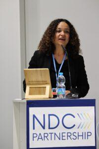 El panel de discusión fue facilitado por Andrea Meza, Directora de Cambio Climático de Costa Rica